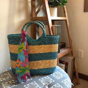 Ralph Lauren blue and tan striped beach bag tote